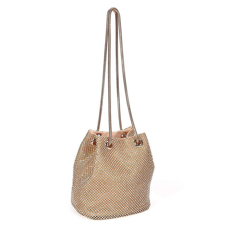 Women Polyester + rhinestone + metal Evening Bags Bucket bag clutch Bags