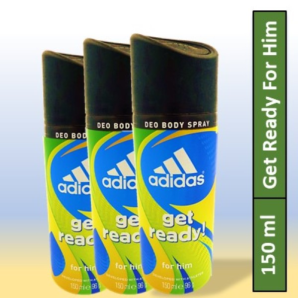 Buy [6 Deodorants] Adidas Men Get Ready For Him 24 Hours Deodorant Body Spray 150ML Singapore