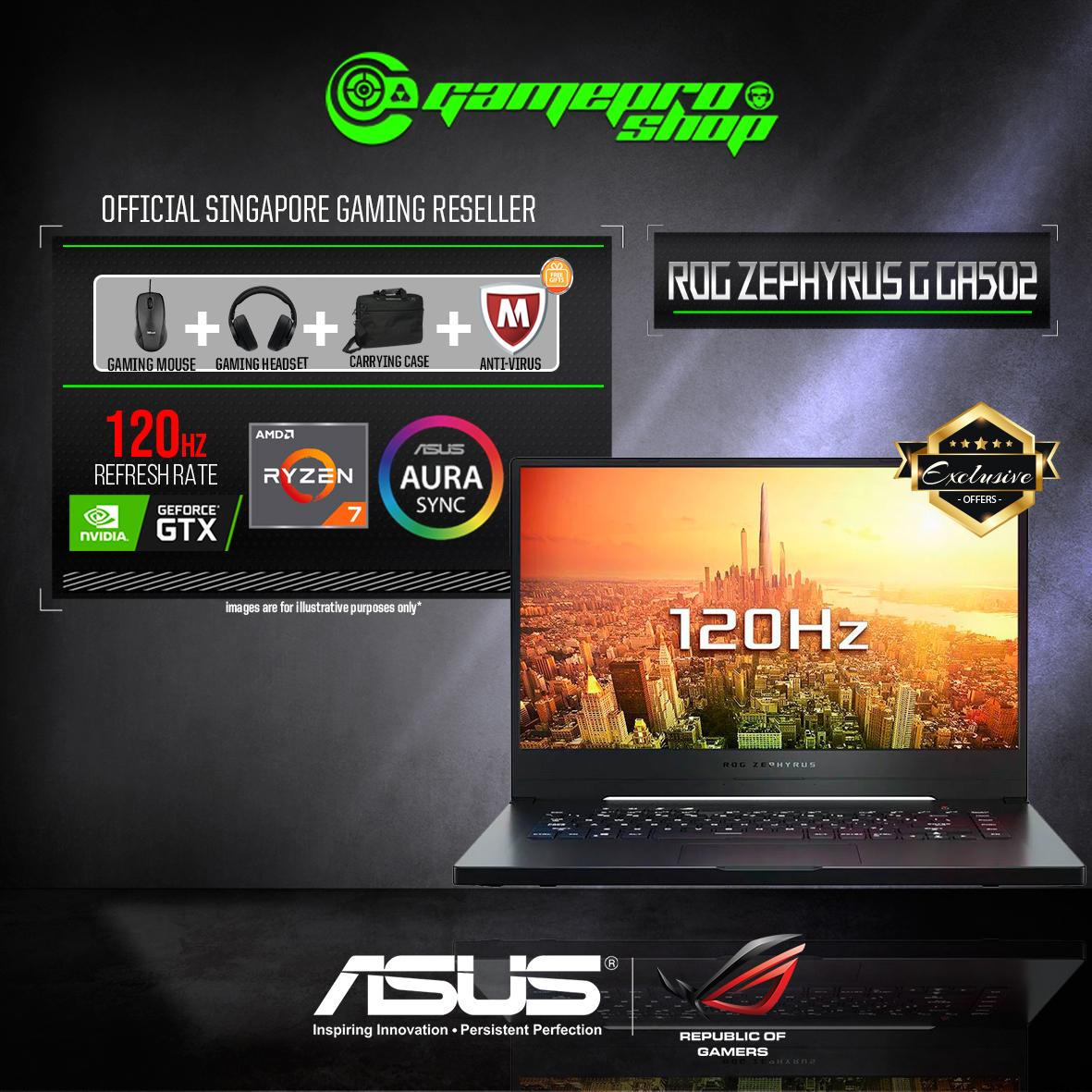 9th Gen ASUS ROG Zephyrus G GA502DU - AL025T GTX1660Ti Exclusive (R7-3750H / 16GB / 512GB SSD / W10) 15.6 FHD WITH 120Hz GAMING LAPTOP *NDP PROMO*