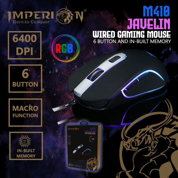 Imperion 6 Button Gaming Mouse M410 Javelin Built-In Memory 6400 DPI