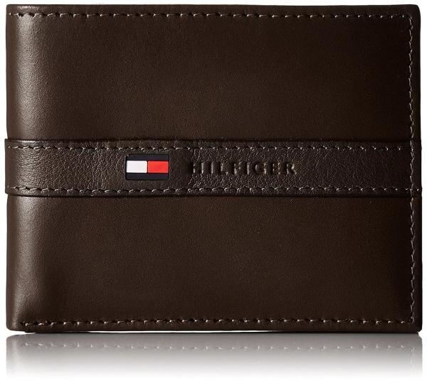 [SG SELLER] Tommy Hilfiger Mens Ranger Passcase Wallet with Faux Leather Gift Box (Classy Brown)