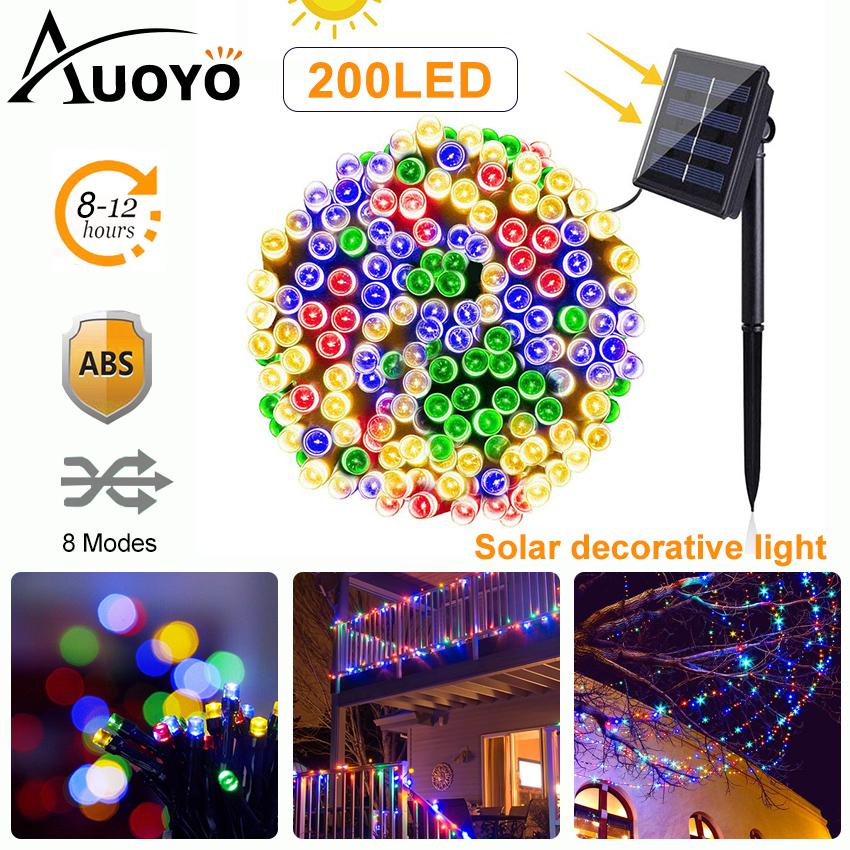 Auoyo 200 LED Solar String Lights Outdoor Lighting Waterproof Decorative Led String Lights 8 Modes Solar Powered Fairy String Lights for Garden Patio Home Wedding Party
