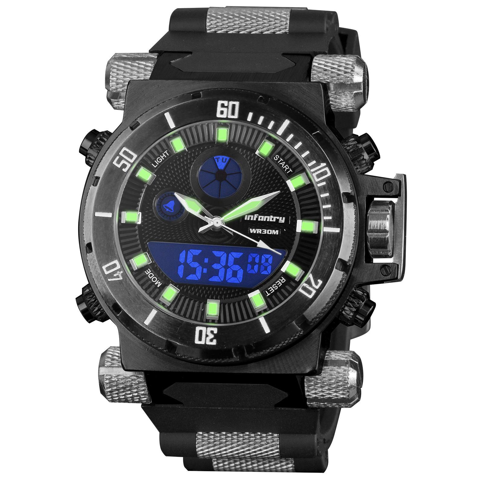 3d62e92c568a Infantry Mens Digital Quartz Wrist Watch Stopwatch Alarm Sport LCD  Chronograph(Black)