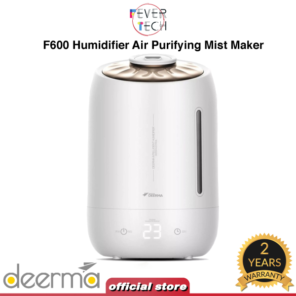 Deerma F600 Humidifier Air Purifying Mist Maker 5L Touch-Sensitive Temperature, White Singapore