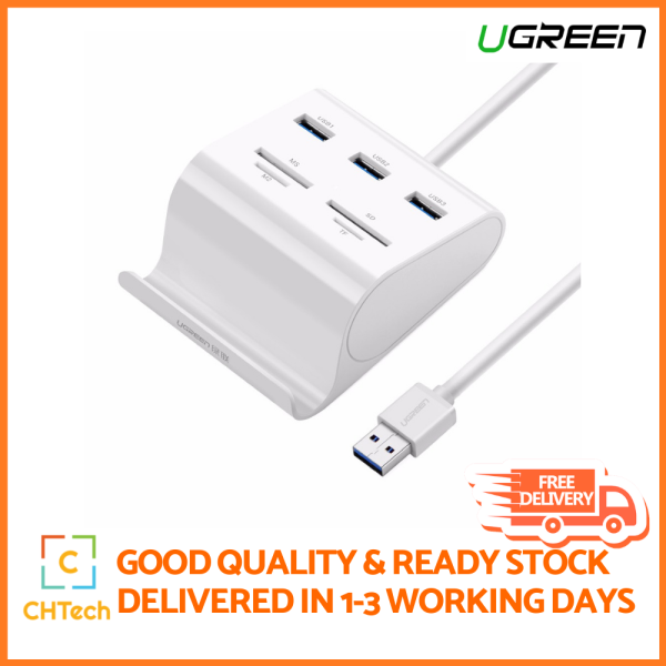 UGREEN USB Hub, SD Card Reader, Phone Stand, 4 Card Slots for SD, SDXC, SDHC, TF, MS, Micro SD, Micro SDXC, Micro SDHC, Compatible with Mac OS, Surface Pro, IdeaPad, MacBook Air, Windows, Vista, Linux