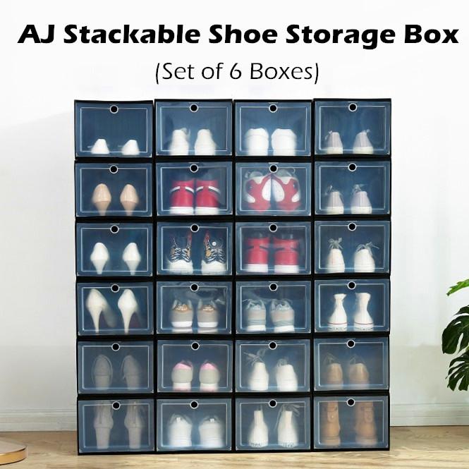 ♦ SET OF 4/6 ♦ AJ Yeezy BIG Plastic Stackable Shoes Box Storage Rack Organiser ♦ Foldable Shoe Cabinet Drawer Shelf