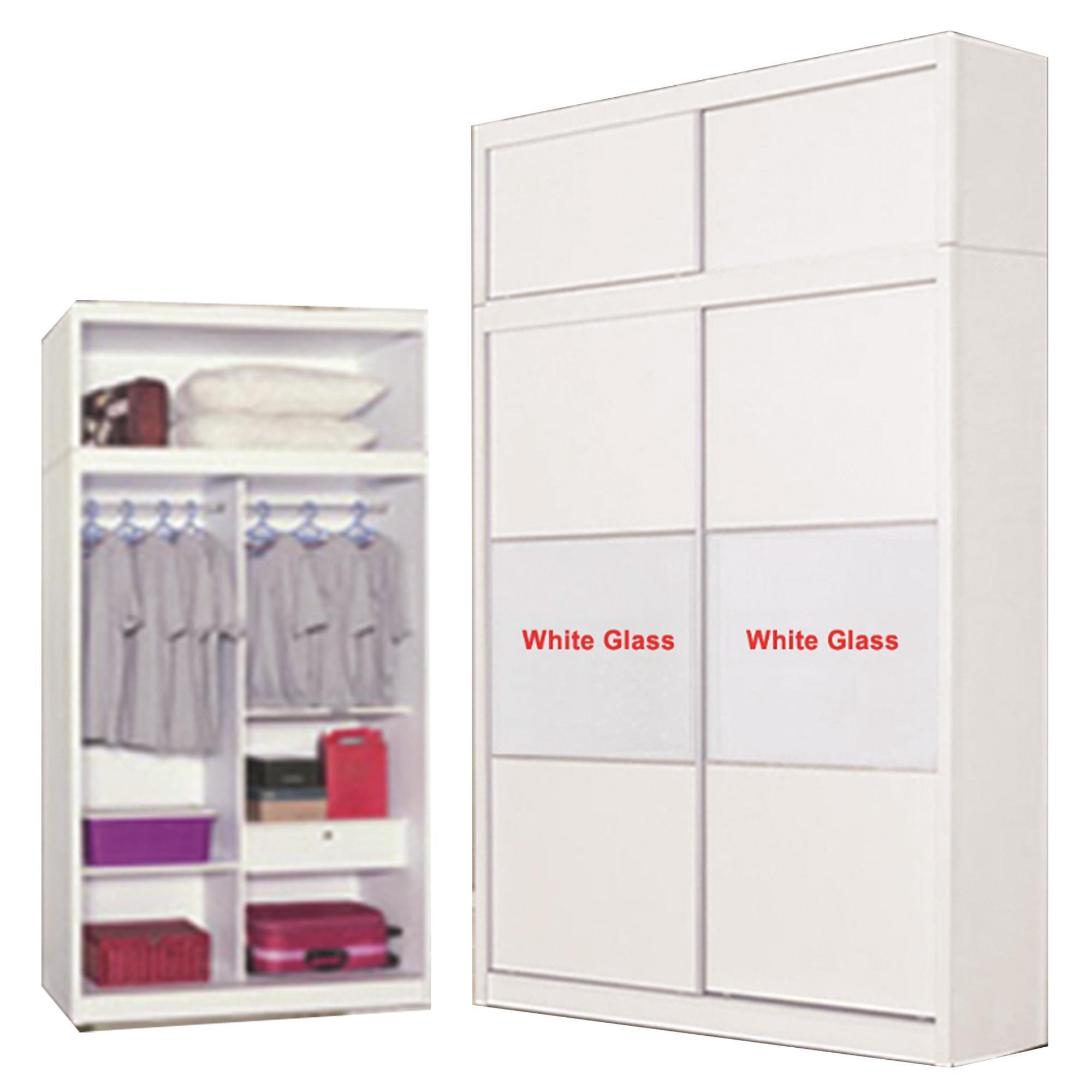 4ft Slding Wardrobe With TOP (Matte White) (Free Installation)
