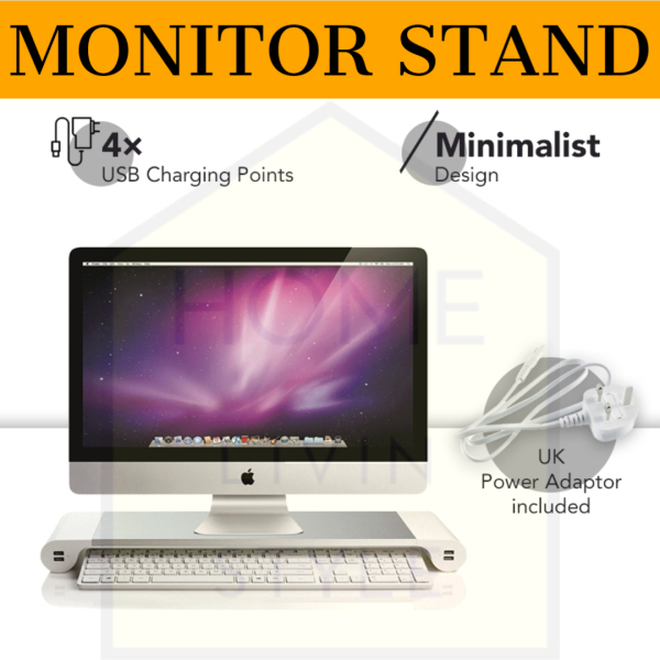 Monitor Stand with USB charging   UK type 3 pin charging plug included   Assembly Free   Aluminium Alloy