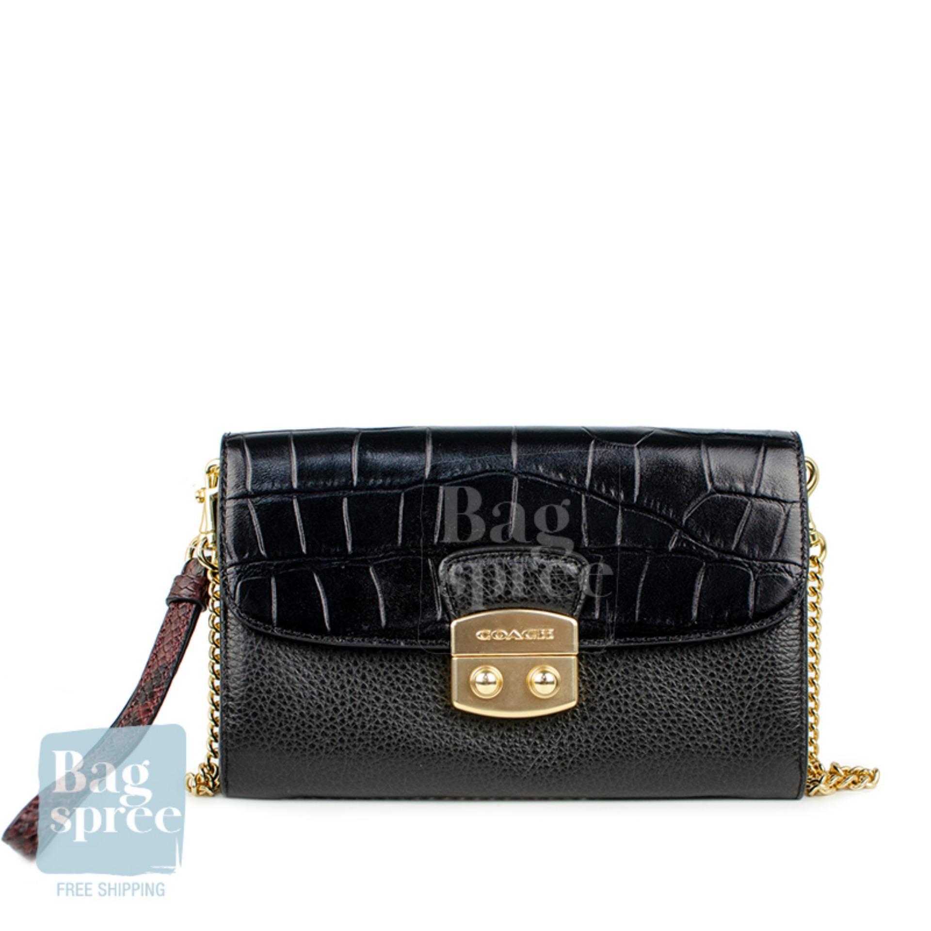 012ca6c04 *Authentic & Brand New* Coach Chain Crossbody Black Leather Bag F55617  IMBLK [Gift