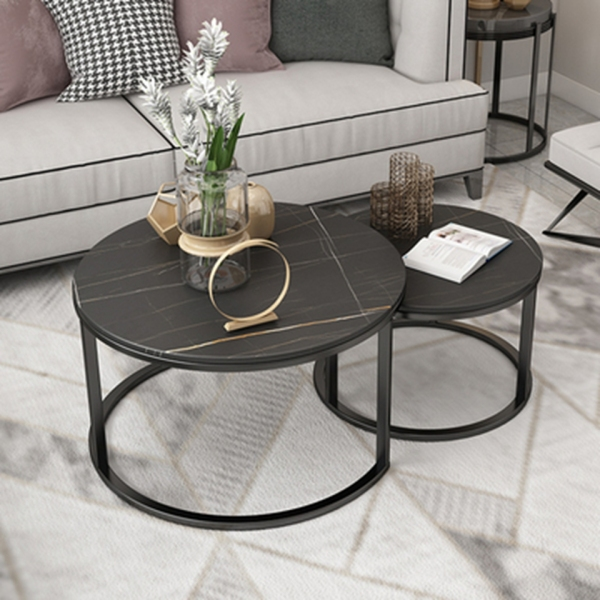 Modern Marble Coffee Table Set of 2 (60cm+45cm)Premium Gold Frame White Marble Black Space Saver Conceal Design Free Shipping Free Installation
