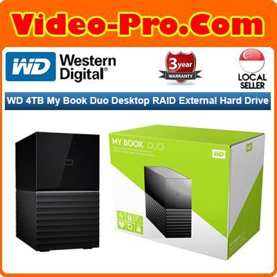 WD My Book Duo 4TB Two-Bay USB 3 0 Type-C RAID Array (2x2TB) WDBFBE0040JBK
