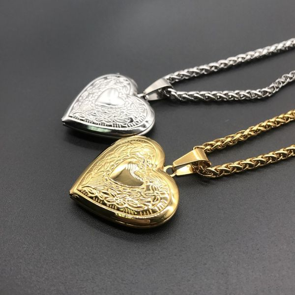 EWELLBE Gift Chain Jewelry Lover Necklace Photo Picture Locket Pendant Heart Shaped