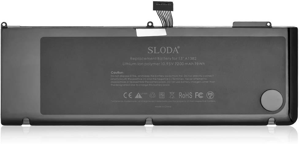 SLODA Laptop Replacement Battery for Apple Macbook Pro 15  A1382 A1286 (Early 2011 Late 2011 Mid 2012 Version) Unibody Compatible for MC721 MC723 MD318 MD322 MD103 MD104 [Li-Polymer 10.95V 7200mAh]