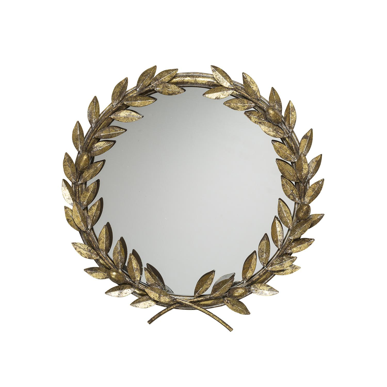 Metal Wall Mirror, Antique Gold