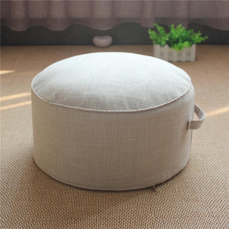 Thick Extra High Futon Flax throw pillow Floor Low Stool Circle European Style Fabric Tatami Stool Coaster Washable