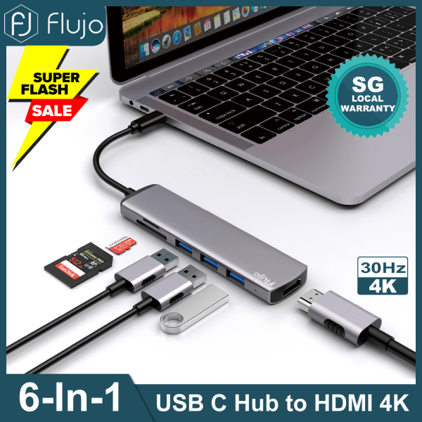 Flujo USB C Hub 6 in 1 Multi-Function Dongle Adapter For Laptop USB C to HDMI 4K, SD/TF Card Reader and 3*USB 3.0 Ports For USB C Laptops and Mobile Phones,CH-66