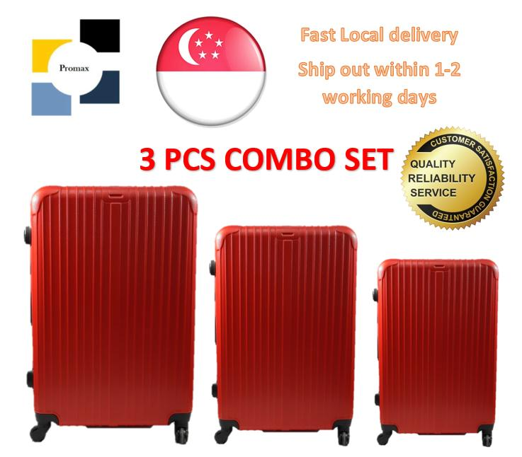 Luggage. Polo City. Set of 3 Pcs. Hard Case. Contains Cabin Size Baggage 20, Check In Baggage 24 and Check In Baggage 28. 4 Wheel Movement. Comes with inline lock system. Local SG Seller. (Chili Red)