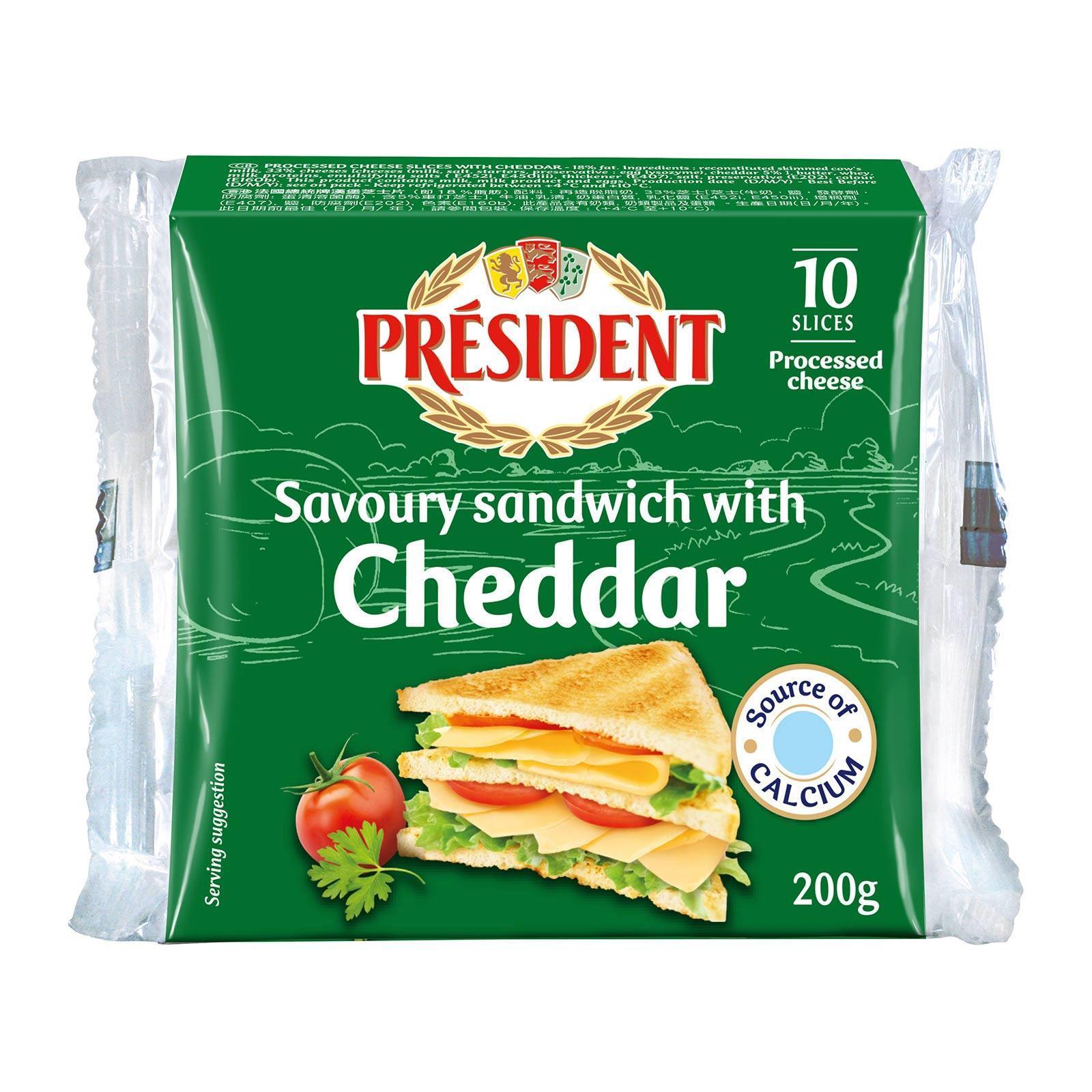 President Sandwich Cheddar Cheese Slices
