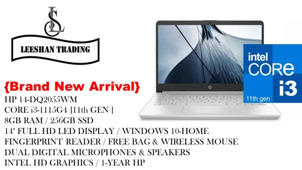 [NEW ARRIVAL-Next day Delivery] HP 14-DQ2055WM / CORE i3-1115G4 / 11th GEN / 8GB RAM / 256GB SSD / 14 FHD / WIN 10-HOME / FINGERPRINT READER / FREE BAG & WIRELESS MOUSE / DUAL DIGITAL MICROPHONES & SPEAKERS / INTEL HD GRAPHICS / 1-YEAR HP