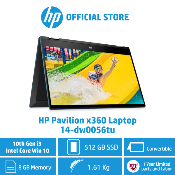 HP Pavilion x360 Laptop - 14-dw0056tu / Intel® Core™  i3-1005G1 / 8GB RAM / 512GB SSD / Win 10 / Convertible / Touchscreen