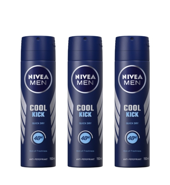 Buy (BUNDLE OF 3) NIVEA DEODORANT SPRAY COOL KICK (M) 150ML Singapore