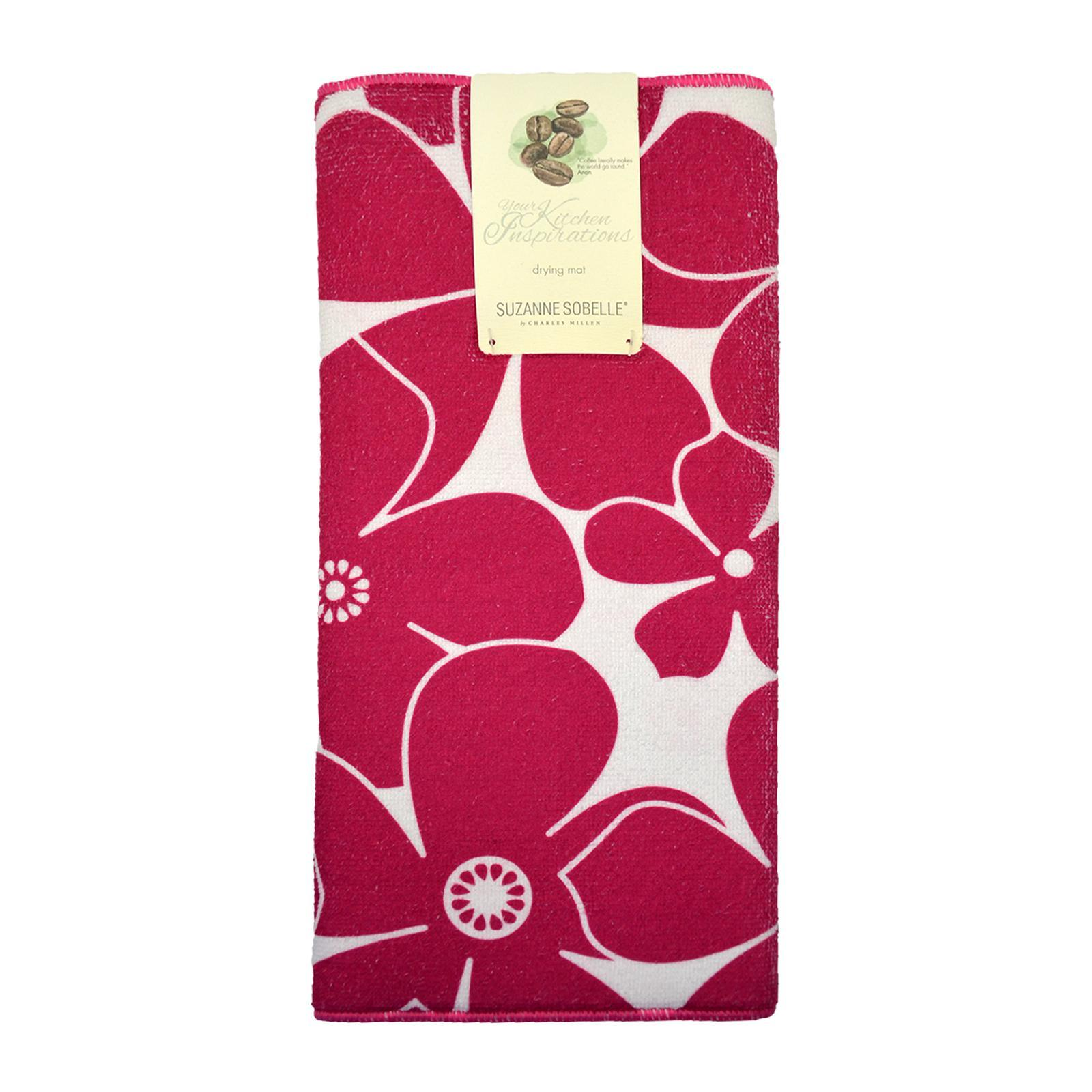 Suzanne Sobelle Microfiber Drying Mat 38x50cm Printed Flowers-Magenta Kitchen Coordinates