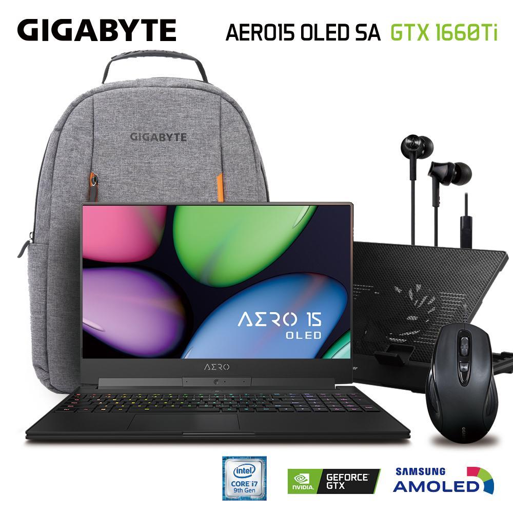 GIGABYTE AERO 15 OLED SA (i7-9750H/16GB SAMSUNG DDR4 2666 (8GB*2)/GeForce GTX 1660 Ti GDDR6 6GB/512GB INTEL 760P PCIE SSD/15.6 Thin Bezel Samsung 4K UHD AMOLED/WINDOWS 10 PROFESSIONAL) [Ships 2-3 days]
