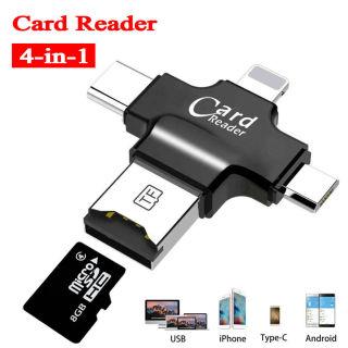 Hàng Có Sẵn Đầu Đọc Thẻ 4 Trong 1 Mới Nhất YiFang 2021 Cho iPhone Android Micro SD USB(OTG) Lightning Type-C TF thumbnail