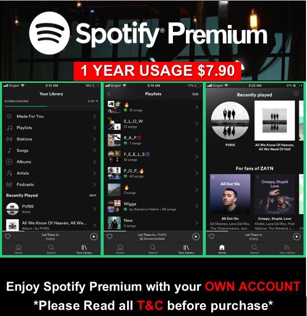 Spotify Upgrade (1Year Usage/Warranty)