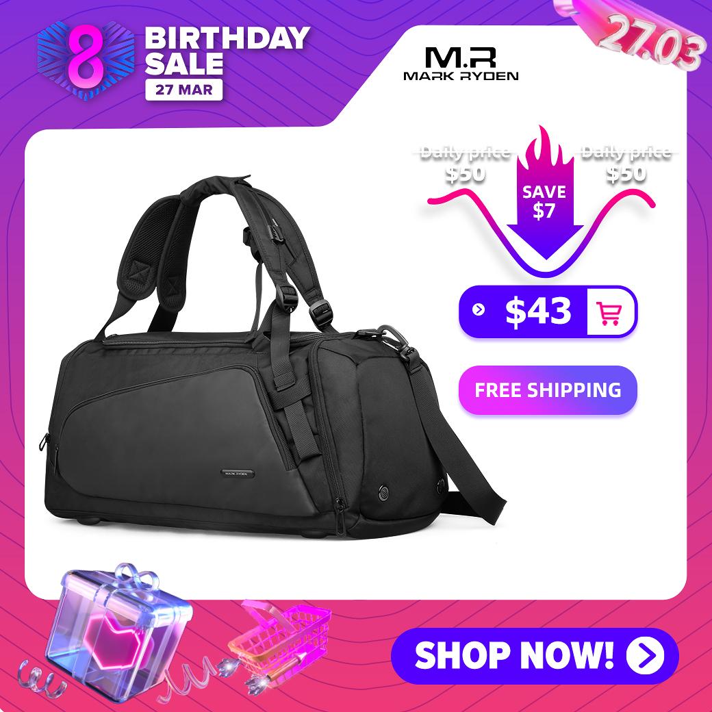 Mark Ryden Mens Black handbag Travel Bag Waterproof Large Capacity Travel Duffle Multifunction Casual Crossbody Bags