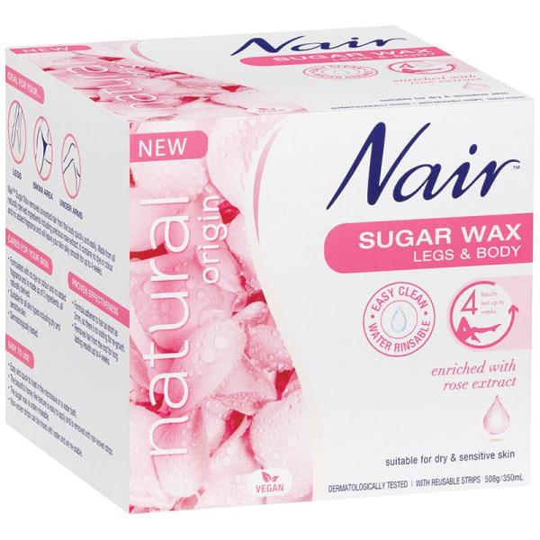 Buy Nair Natural Origin Sugar Wax Rose 350ml - EU Made - EU Made, 100% Authentic Removes unwanted hair from the body quickly, easily - Made from all naturally derived ingredients including precious rose extract - Contains no dye or colour, no added fragrance Singapore
