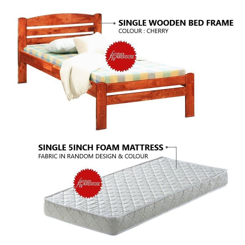 Calista Single Wooden Bed Frame + 5inch Foam Mattress