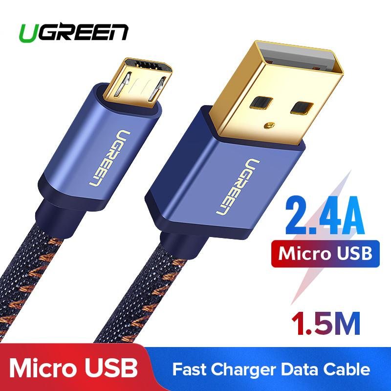 UGREEN 1.5Meter Micro USB Cable Denim Braided Jeans Fast Charger USB to Micro USB Data
