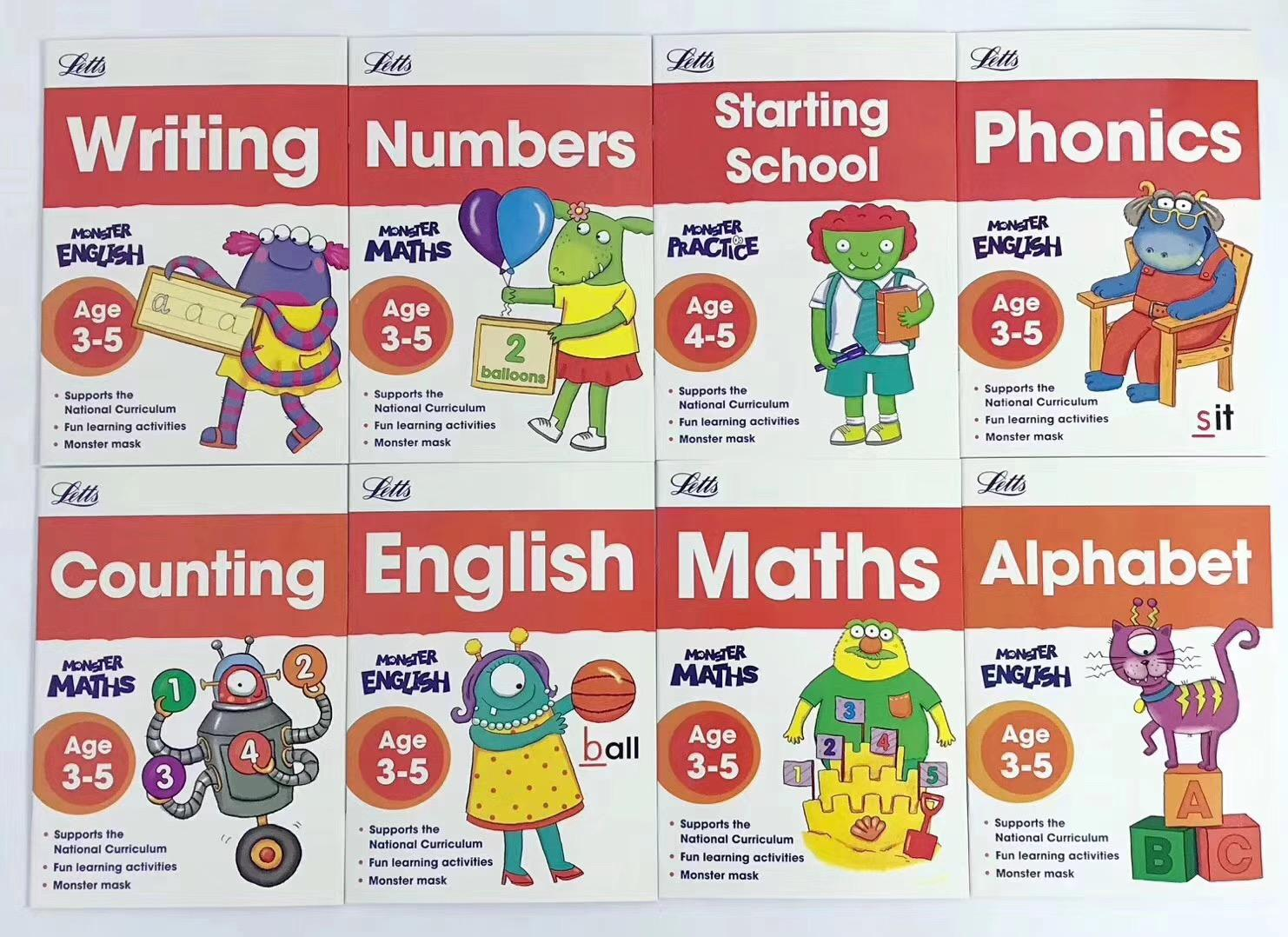 [8 Books] Letts Monster Practice Activity Book English Maths Writing Alphabet Phonics Numbers Counting