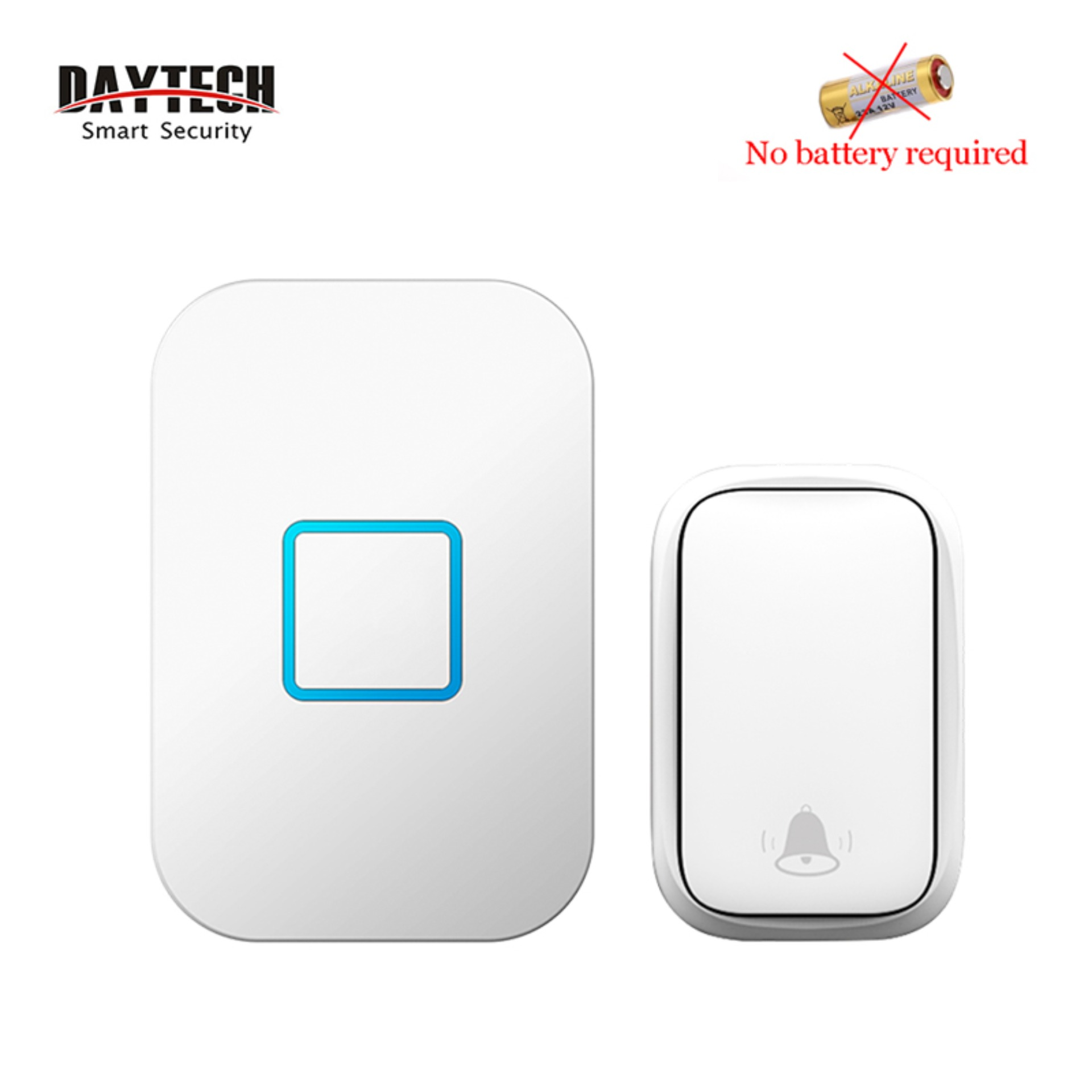[no Need Battery]daytech Wireless Doorbell Db09 Self Powered 60 Tones 5 Volumes Door Bell 1 Receiver With 1 Button  Waterproof 150m Range Smart Door Chime For Home/office.