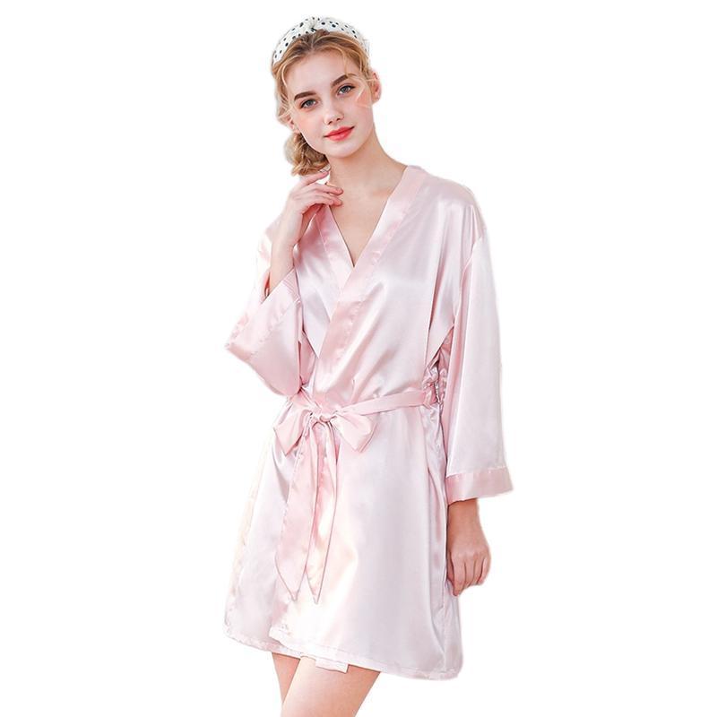 Nơi bán Women Robes Faux Silk Sleepwear Wedding Bride Pajamas Luxurious Ladies Satin Kimono V Neck Solid Nightwear Bathrobe Nightdress Nightgown