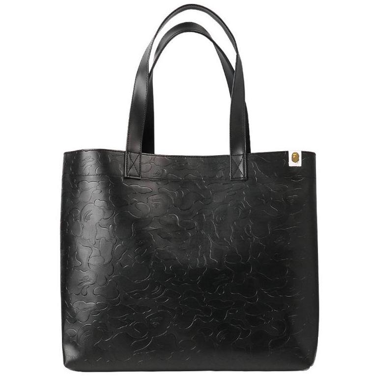 Bape Black Camouflage Leather Tote Bag