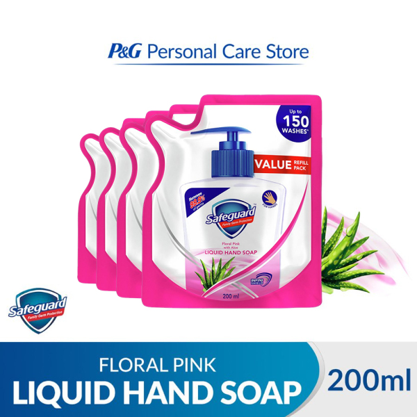 Buy [Bundle of 4] Safeguard Family Germ Protection Liquid Hand Soap Floral Pink with Aloe 200ml Singapore