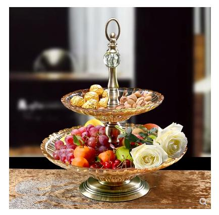 European Style Ceramic Double Layer Three Layer Fruit Plate Frame Cake Frame Biscuit Pastry Cake Candy Dish Afternoon Tea Dessert Plate-intl