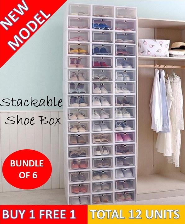 Buy 1 Set Free 1 Set ♦ SET OF 6 Shoe BOXES ♦ Stackable Shoes Box Rack / Shoe Storage Cabinet Drawer Shelf / Traveller Pack / Cabinet for Washing Table