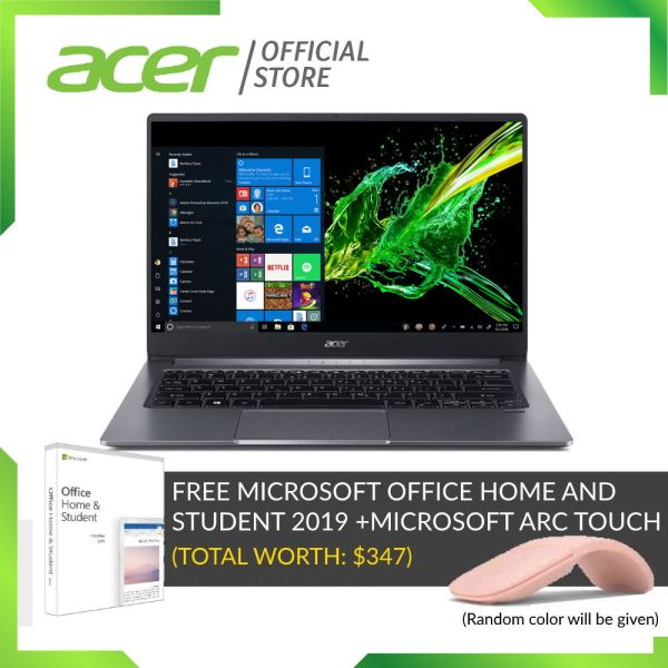[LATEST-READY STOCKS] Acer Swift 3 SF314-57G-75ED Thin and light 14 Inch FHD IPS laptop with Intel i7-1065G7 processor and 16GB RAM (Preloaded Microsoft Office 2019)