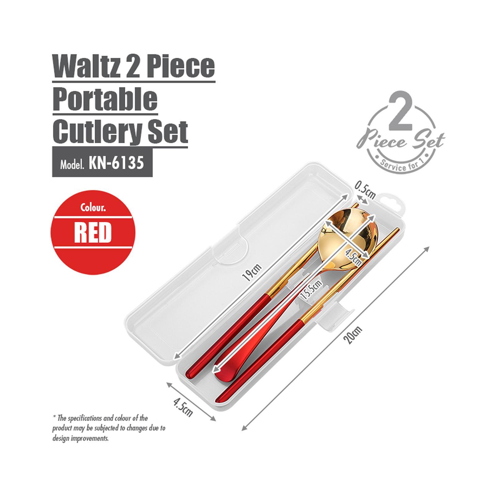 HOUZE Waltz 2 Piece Portable Cutlery Set - Red