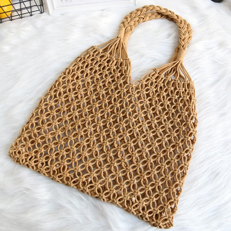 Hyuna Celebrity Style Woven Bag Female ins string bag Wrapping Fish Grid Online Celebrity One-Shoulder Hollow out Straw Bag Holiday Beach Summer