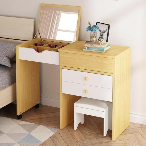 Ash Extendable Fold Down Mirror Dresser Makeup Table