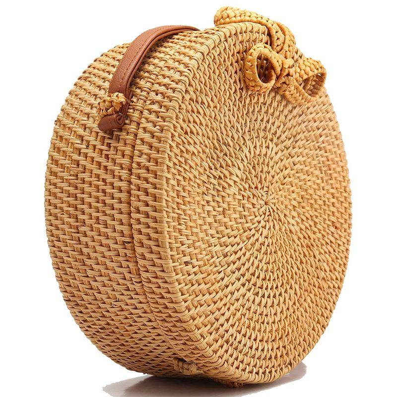 Women Handwoven Round Rattan Bag Shoulder Leather Straps Natural Chic Handbag