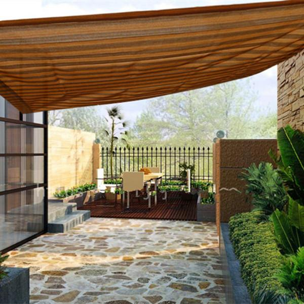 Sun Shade Mesh Canopy Awning Privacy Screen Window Cover Hot Resistant Protection Shelter 80% UV Blocking for Gazebo Patio Garden Outdoor Greenhouse Flower Barn Kennel Fence Brown Stripe