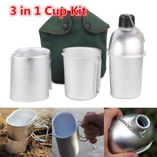 ANPU5 Hợp Kim Nhôm Quân Sự Đi Bộ Đường Dài Backpacking Hộp Ăn Trưa Với Bìa Túi Cup Kit, Bộ Dụng Cụ Nấu Ăn Bếp Gỗ Canteen Cup thumbnail