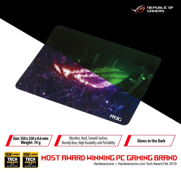 ASUS ROG Strix Slice gaming mouse pad featuring an ultrathin, hard, smooth surface, nonslip base, high durability and portability