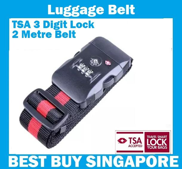 Tsa Luggage Belt Strap With 3 Digit Combination Baggage Lock - Black / Red 2metre By Best Buys.