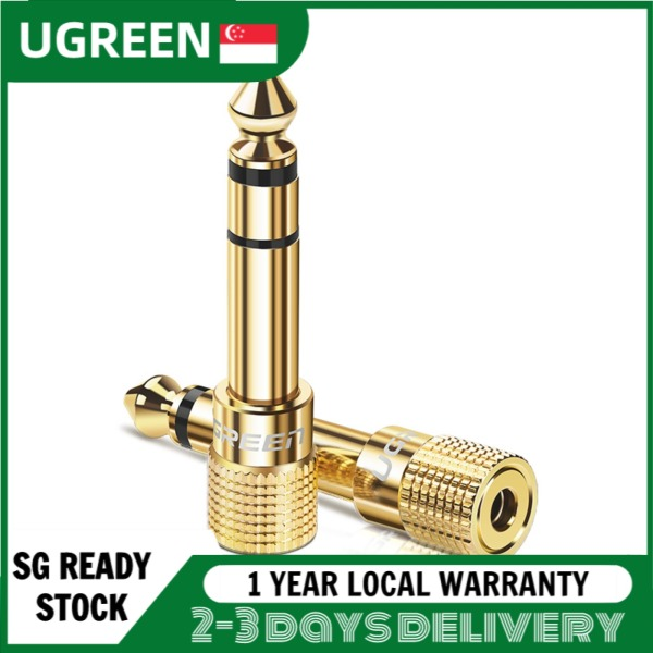 UGREEN Gold Plated 6.35mm Male to 3.5mm Female Stereo Audio Adapter (1 Pack) Singapore